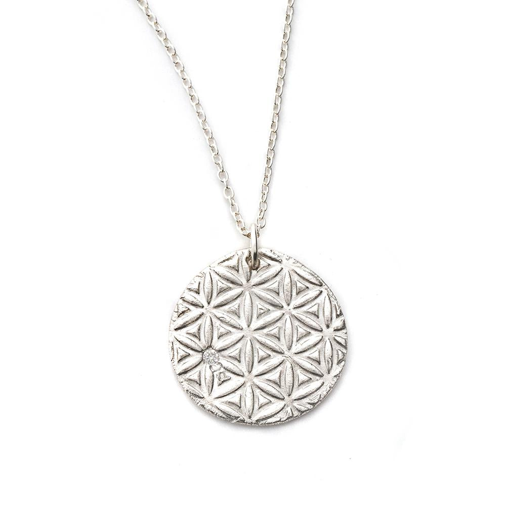 Flower of Life Charm Necklace Silver