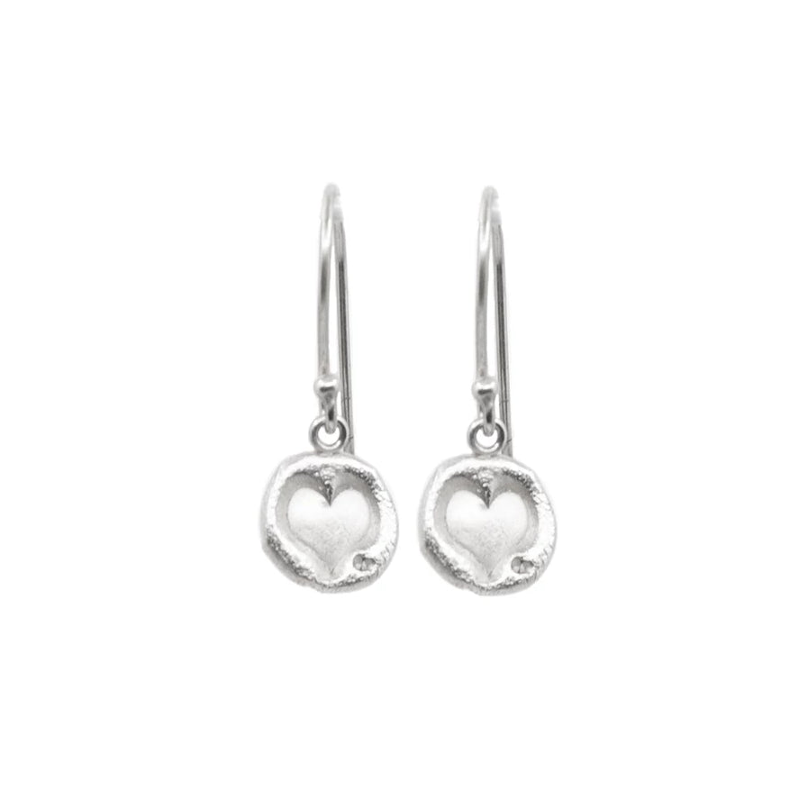Heart Hanging Earrings Silver - MAS Designs