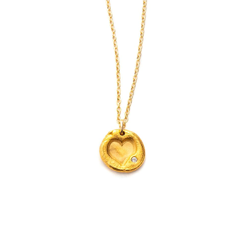 Heart Charm Necklace Gold - MAS Designs