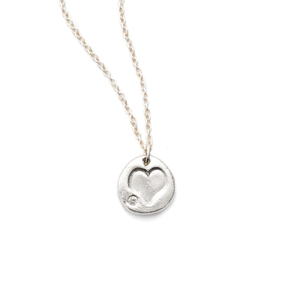 Heart Charm Necklace Silver