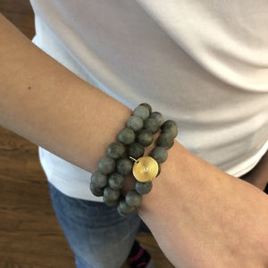 Labradorite Beaded Bracelets, Set of 3 with Charm Gold - MAS Designs