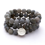 Labradorite Beaded Bracelets, Set of 3 with Charm Silver - MAS Designs