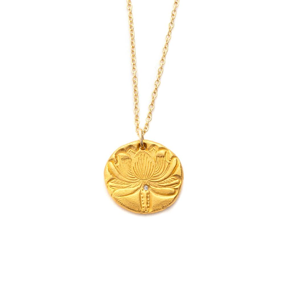 Lotus Flower Charm Necklace Gold - MAS Designs