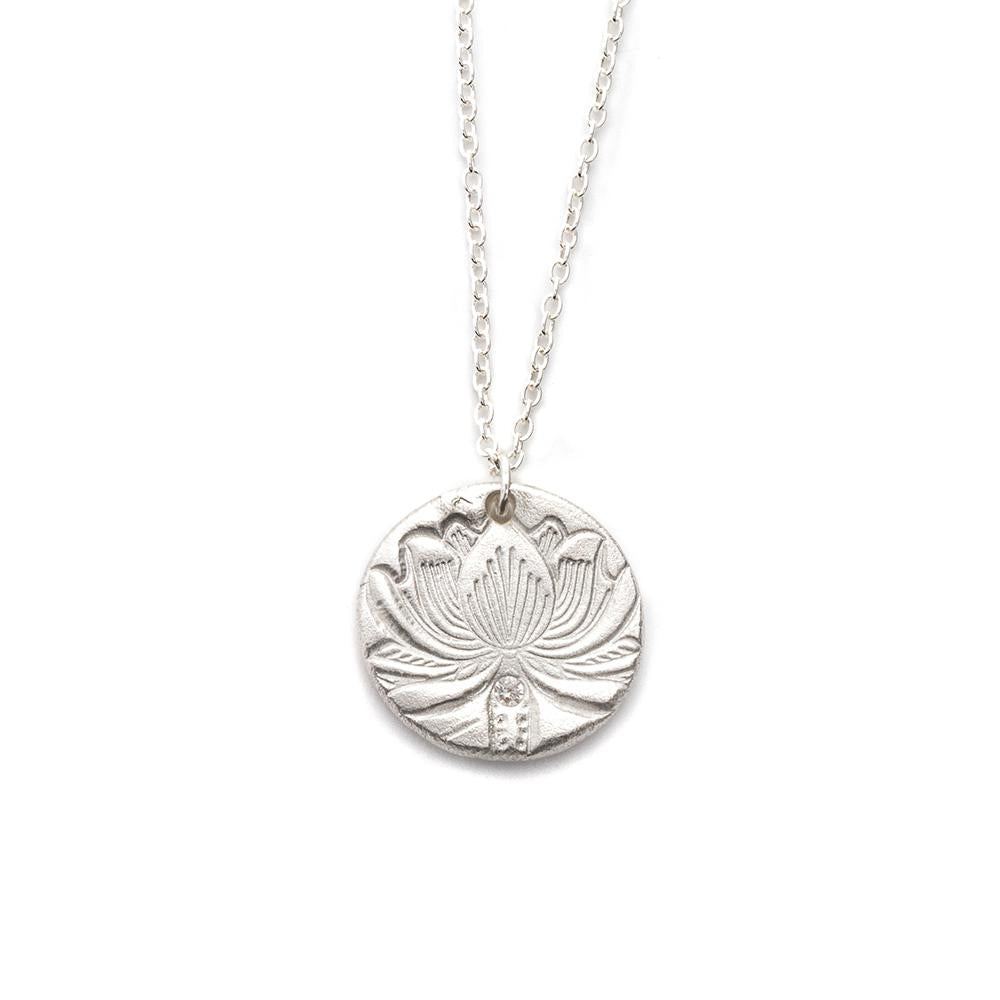 Lotus flower Charm Necklace Silver - MAS Designs