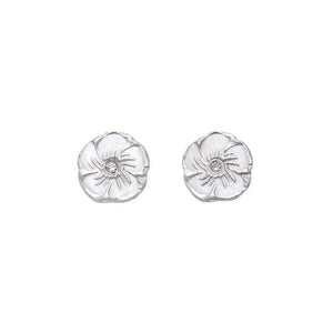 Magnolia Diamond Stud Earrings Silver - MAS Designs