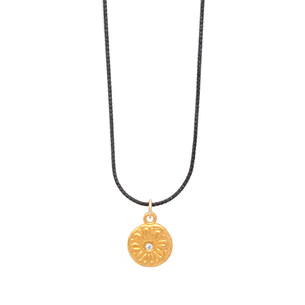 Mod Flower Charm Necklace Gold - MAS Designs