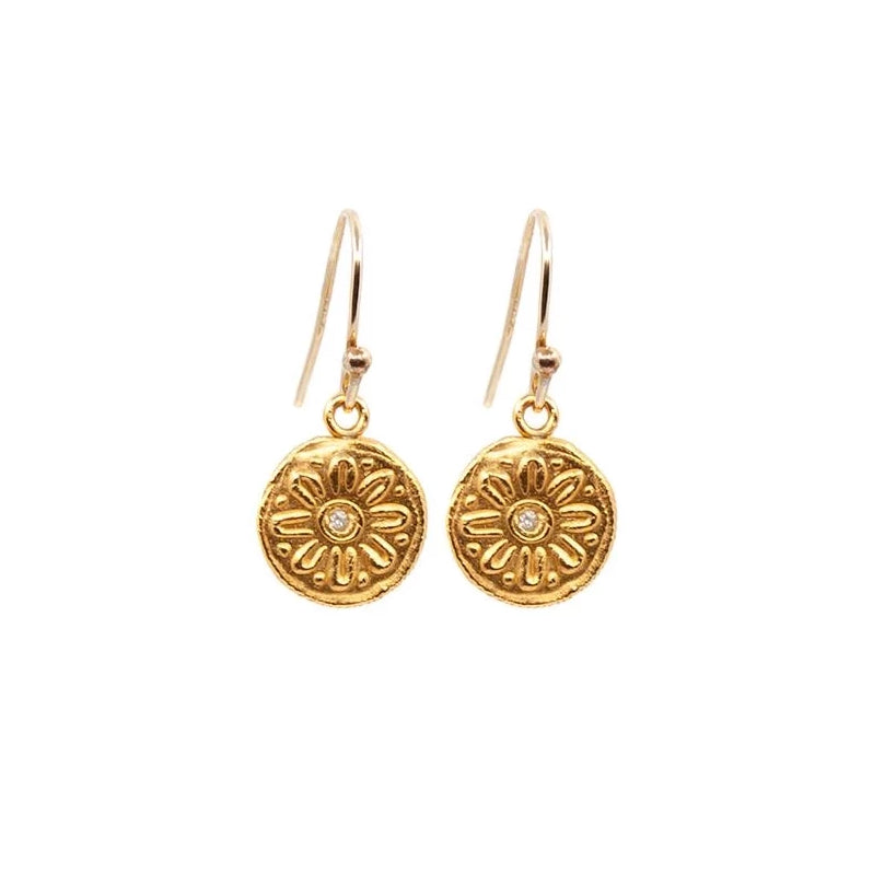 Mod Flower Hanging Earrings Gold - MAS Designs