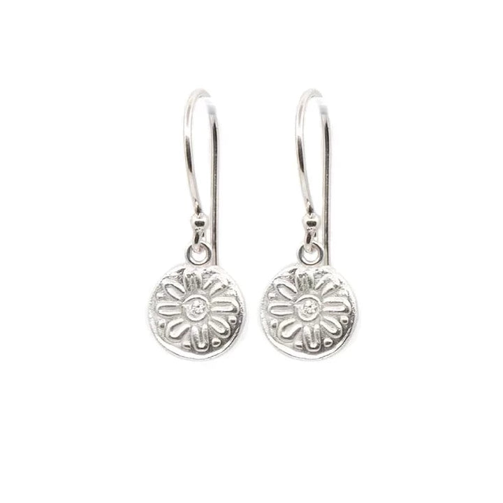 Mod Flower Hanging Earrings Silver - MAS Designs