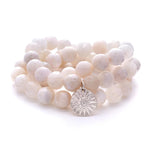 Moonstone Beaded Bracelets, Set of 3 with Charm Silver - MAS Designs