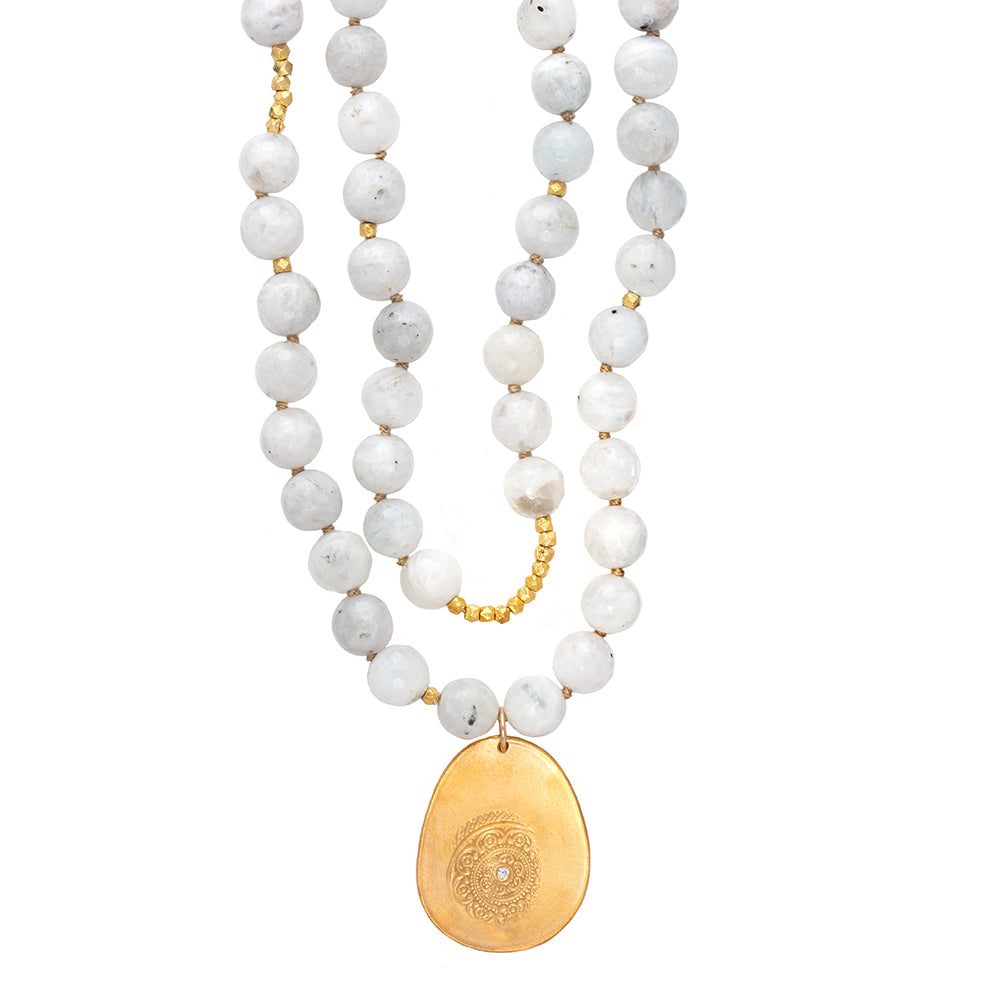 Moonstone Long Beaded Necklace, Large Beads, Charm Gold - MAS Designs