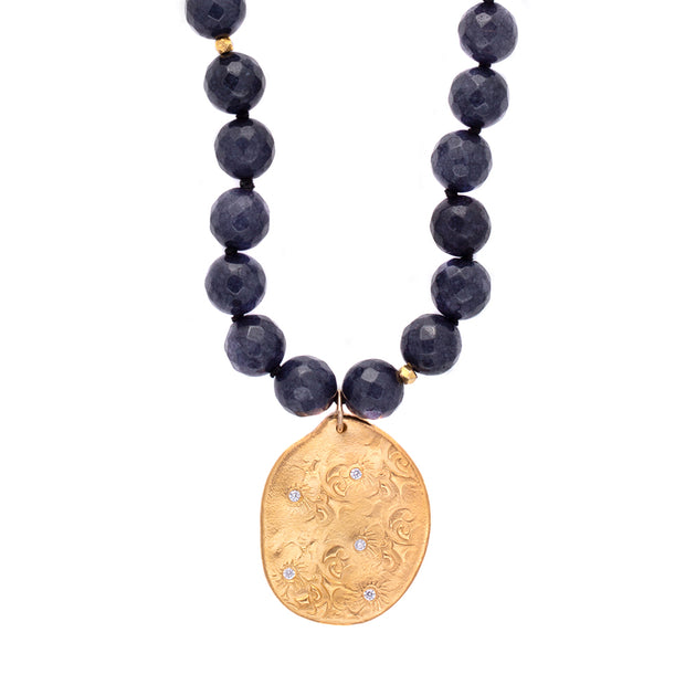 Navy Blue Agate Long Beaded Necklace, Large Beads, Charm Gold 1