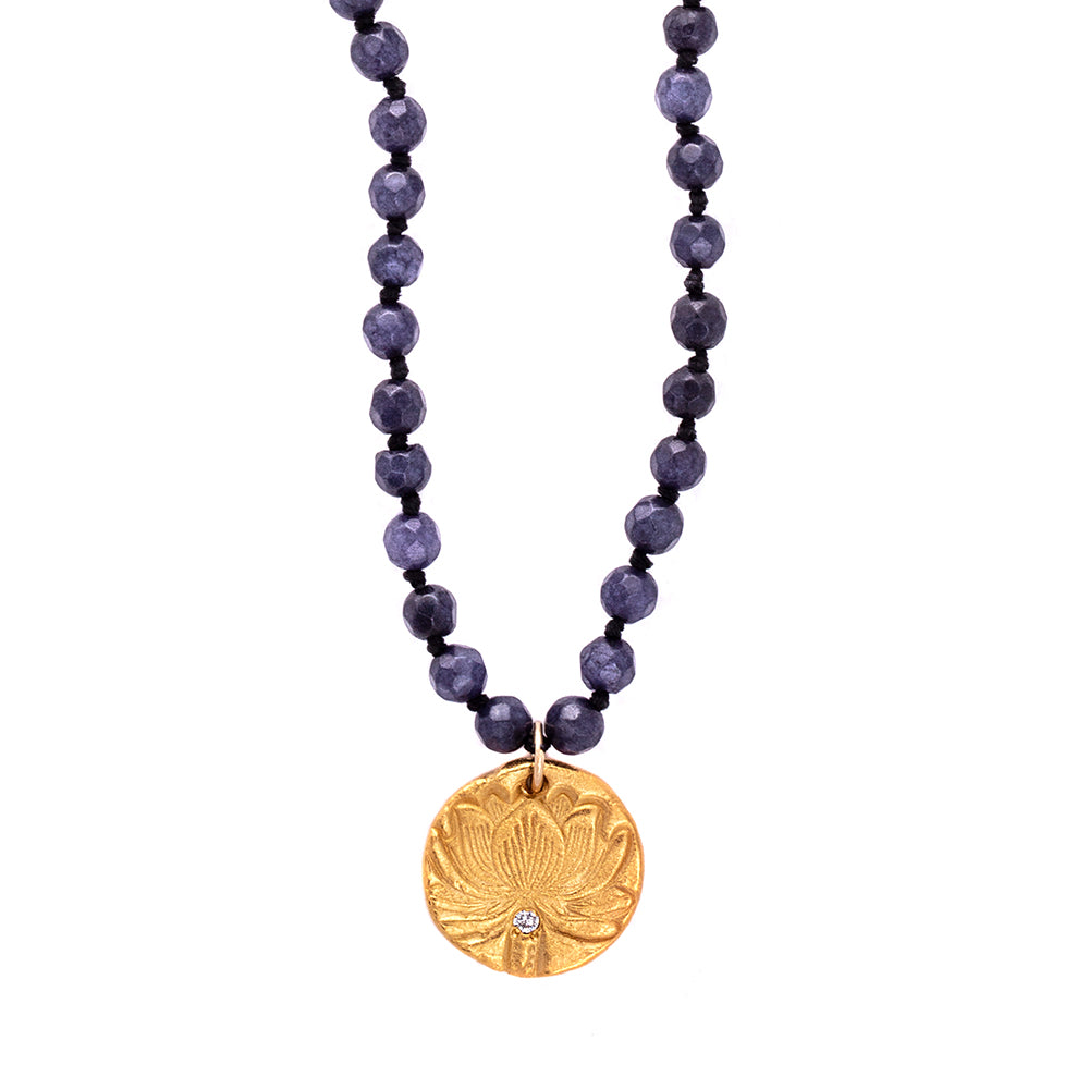 Navy Blue Agate Long Beaded Necklace Small Beads Charm Gold - MAS Designs