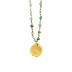 One of a Kind Green Chrysoprase with Gold Zen Circles Charm Necklace 20008 - MAS Designs