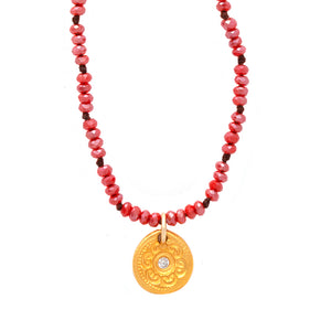 One of a Kind Small Red Beads Necklace Gold Charm 20018 - MAS Designs