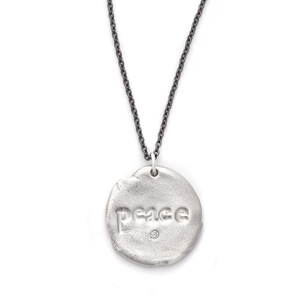 Peace Charm Necklace Silver