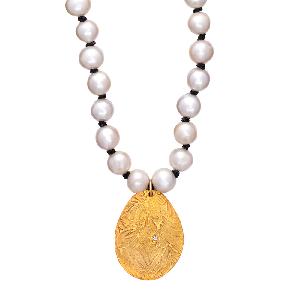 Pearl Long Knotted Necklace Gold - MAS Designs