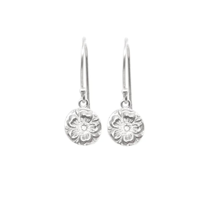 Pretty Flower Hanging Earrings Silver - MAS Designs