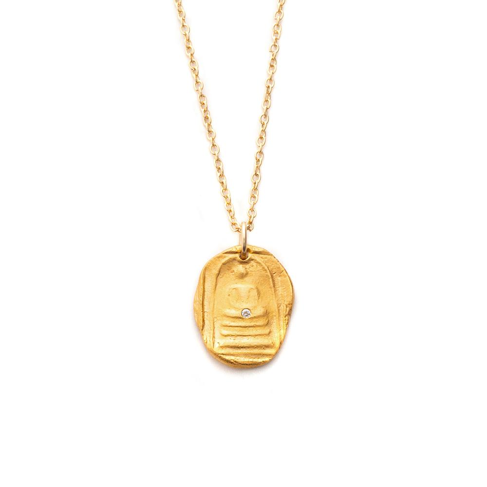 Quiet Buddha Charm Necklace Gold