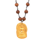 Sandalwood Long Necklace Big Buddha Charm Gold - MAS Designs