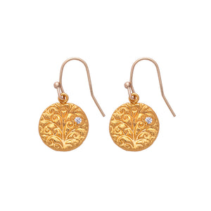 Tree of Life Hanging Earrings Gold - MAS Designs
