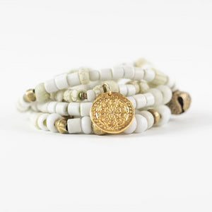 White Beaded Wrap Bracelet Gold - MAS Designs