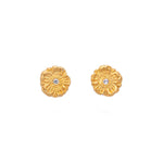 Zinnia Flower Diamond Stud Earrings Gold - MAS Designs