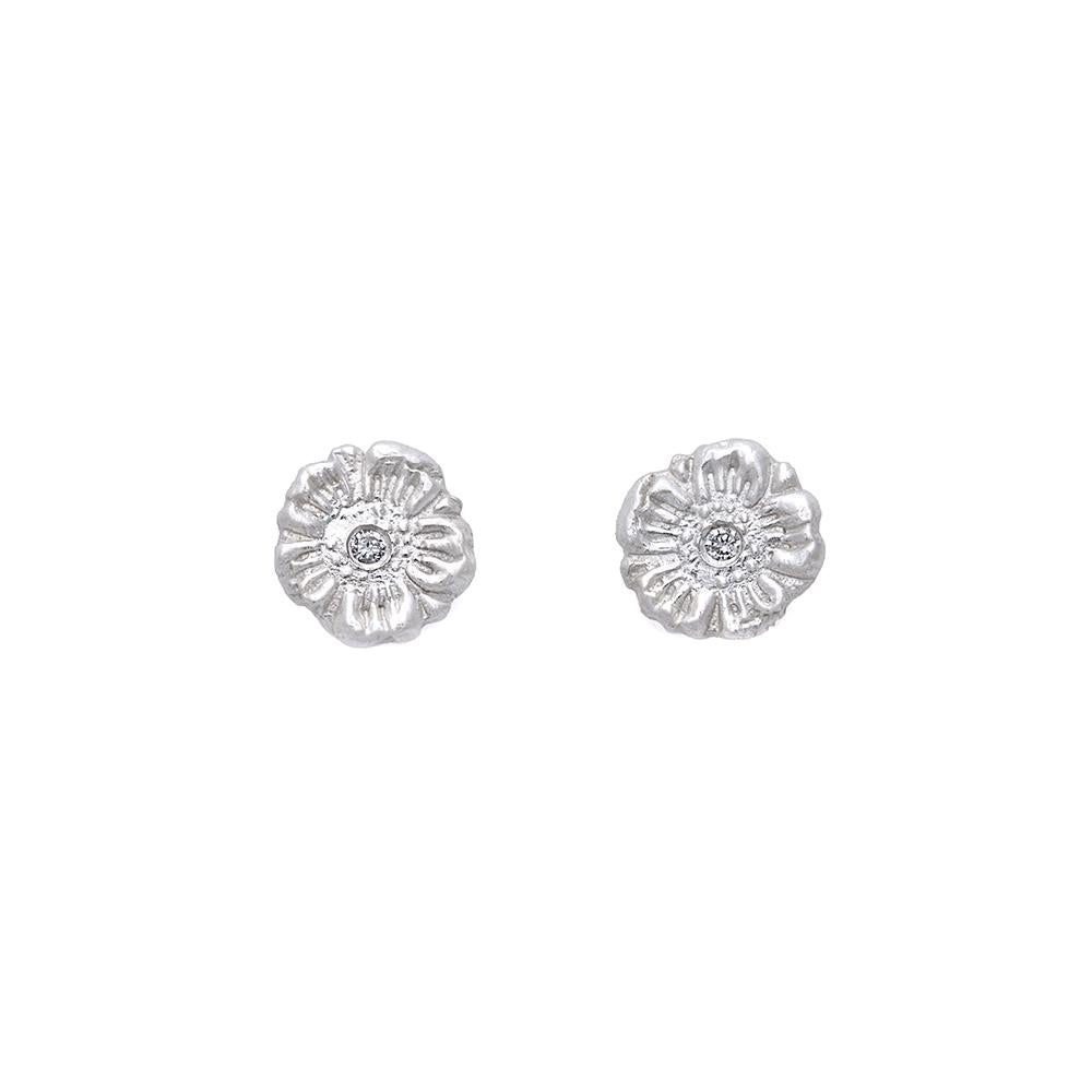 Zinnia Flower Diamond Stud Earrings Silver - MAS Designs
