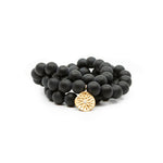 Black Onyx Beaded Bracelets, Set of 3 Charm Gold - MAS Designs