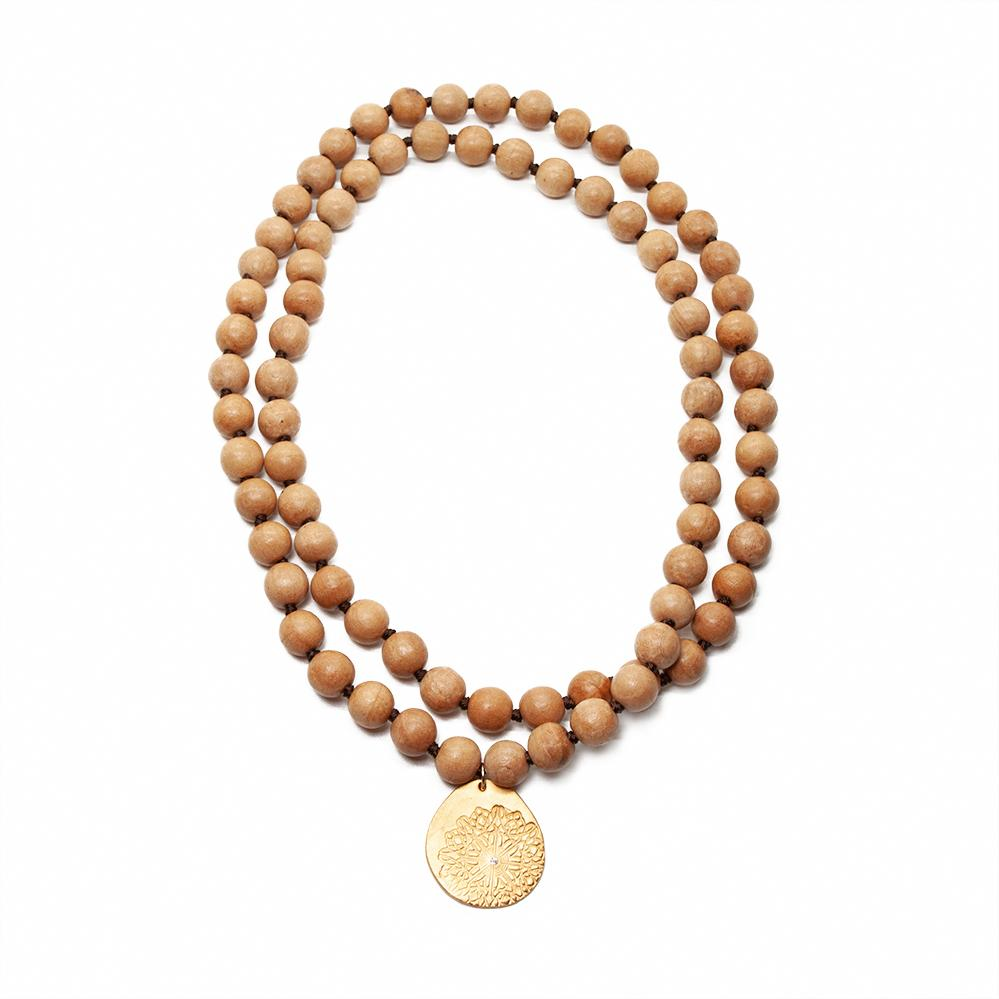 Blonde Wood Long Beaded Necklace Charm Gold
