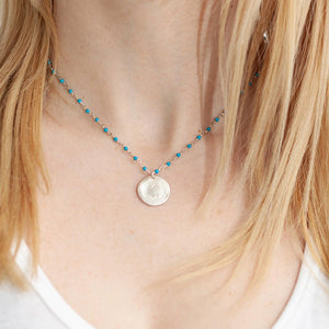 One of a Kind Blue Turquoise Beads Silver Rosary Silver Medium Heart Charm Choker Necklace 20017 - MAS Designs