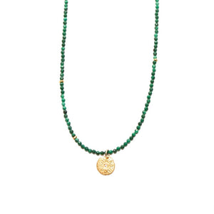 One of a Kind Green Malachite Small Beads Gold Flower Charm Necklace 20014 - MAS Designs