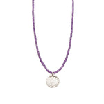 One of a Kind Purple Amethyst Small Beads Silver Lotus Flower Charm Necklace 20013 - MAS Designs