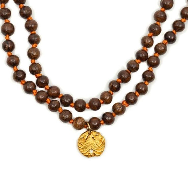 One of a Kind Sandalwood Bead Lotus Flower Charm Necklace 20036 - MAS Designs