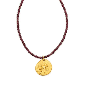 One of a Kind Garnet Bead Necklace with Gold Magnolia Charm 20030 - MAS Designs