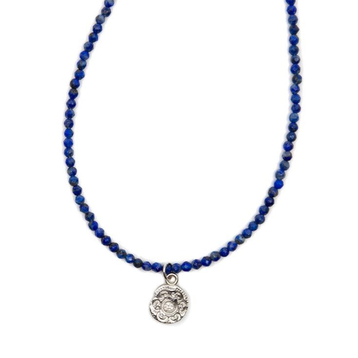 One of a Kind Blue Lapis Bead Necklace with Circles Of Life Charm 20032 - MAS Designs