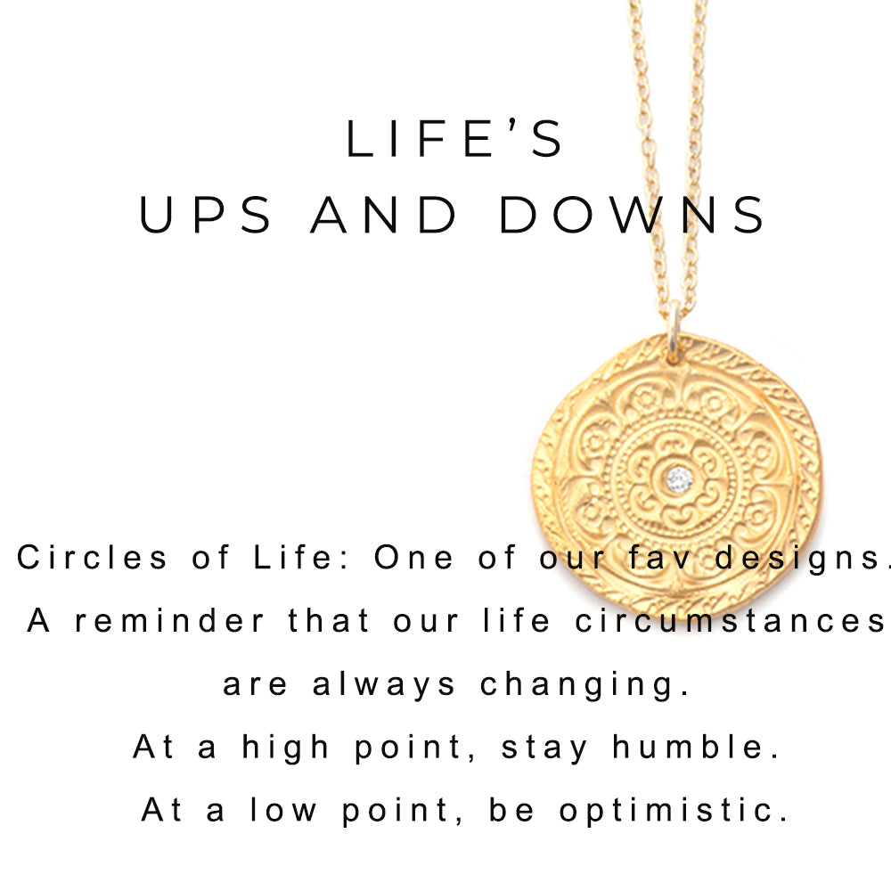 Circles of Life Charm Necklace Gold