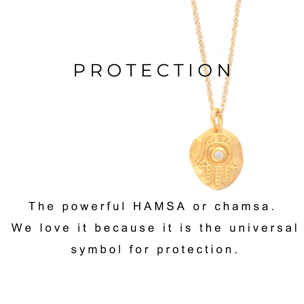 Hamsa Protection Charm Necklace Silver - MAS Designs