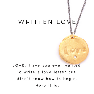 Love Charm Paper Clip Chain Necklace Gold