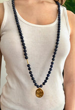 Navy Blue Agate Long Beaded Necklace, Large Beads, Charm Gold - MAS Designs