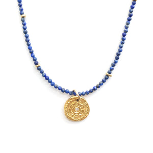 One of a Kind Blue Lapis Bead Necklace with Circles Of Life Charm 20064