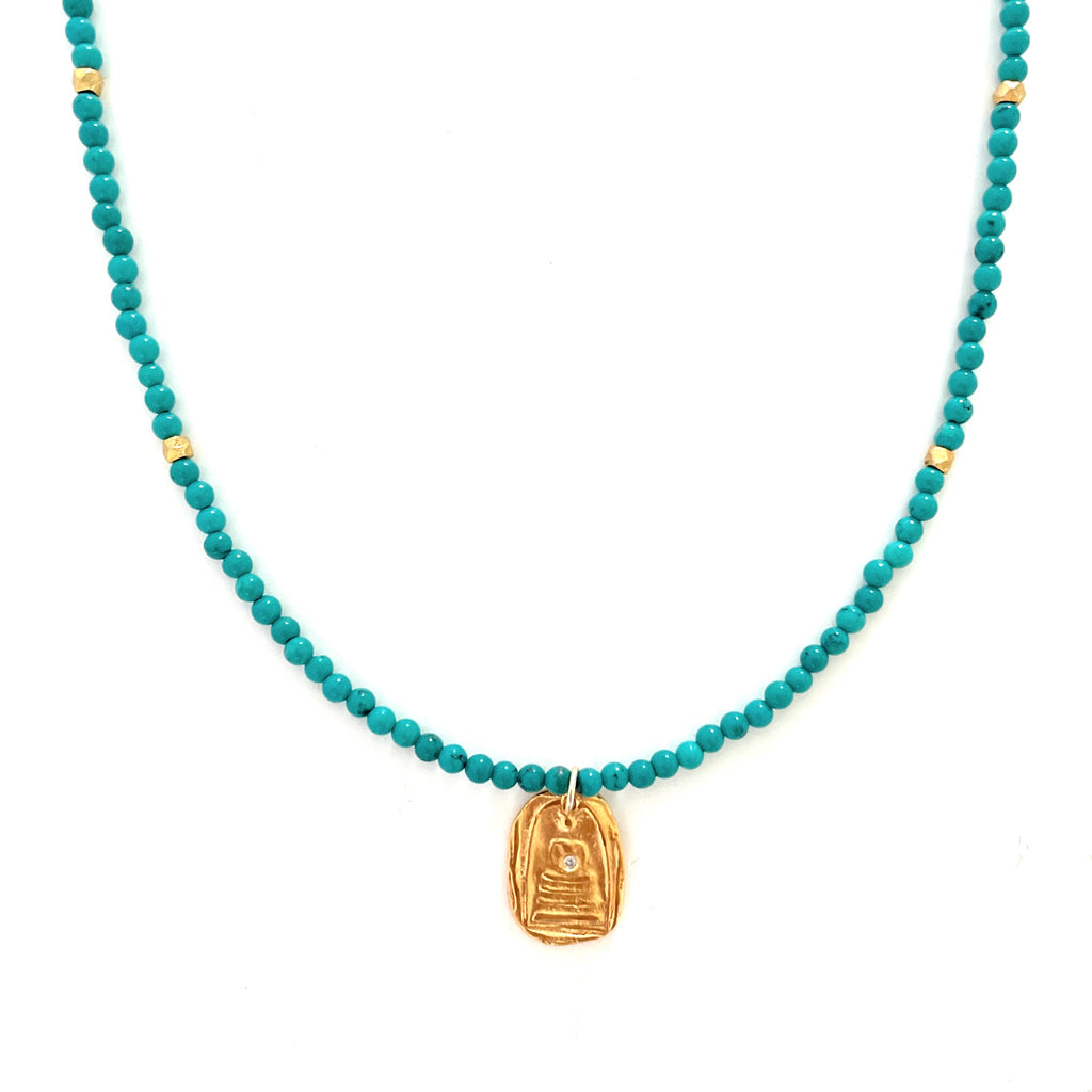 One of a Kind Quiet Buddha Gold Charm on Turquoise Knotted Bead Necklace 20084