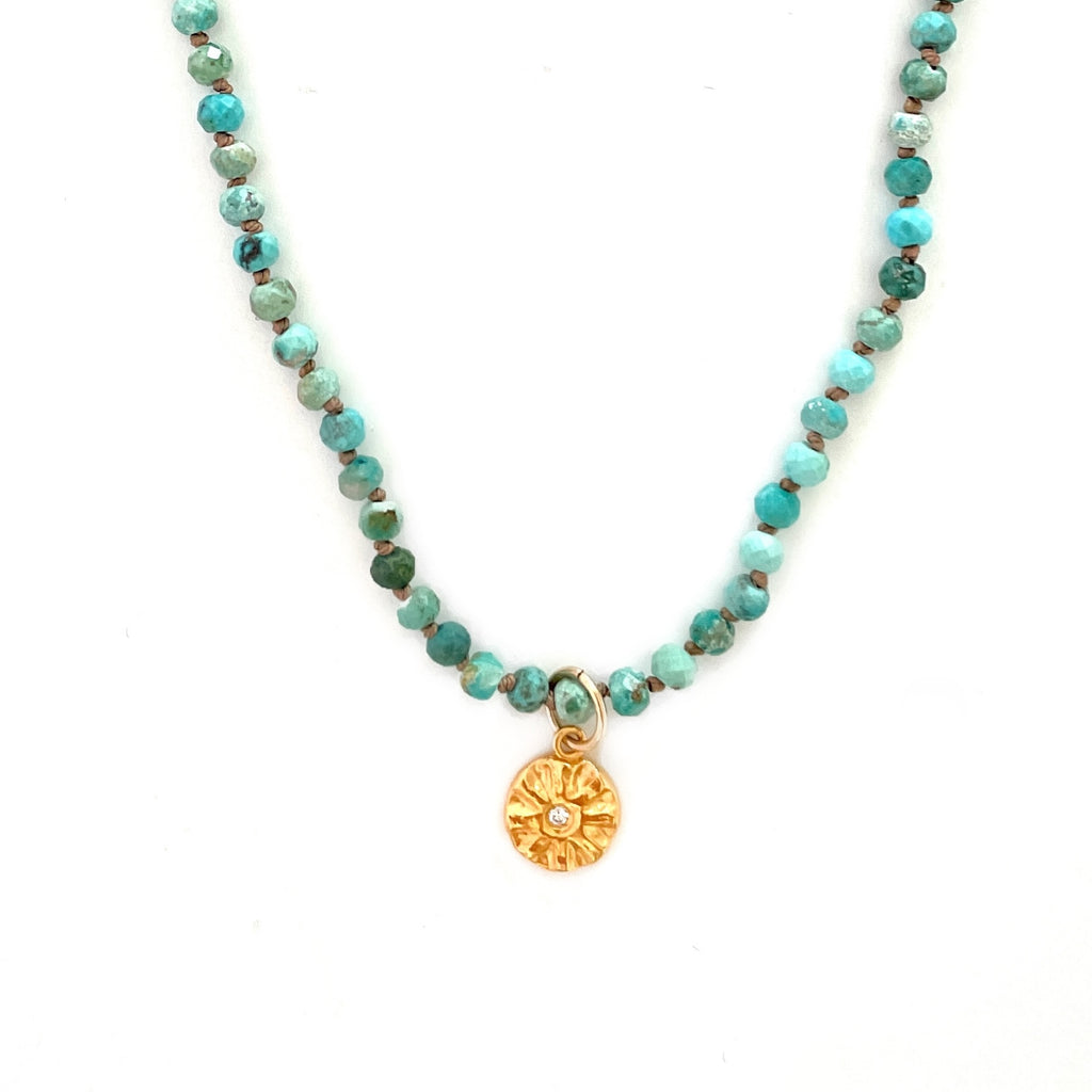 One of a Kind Sparks of Joy Gold Charm on Turquoise Knotted Bead Necklace 20079