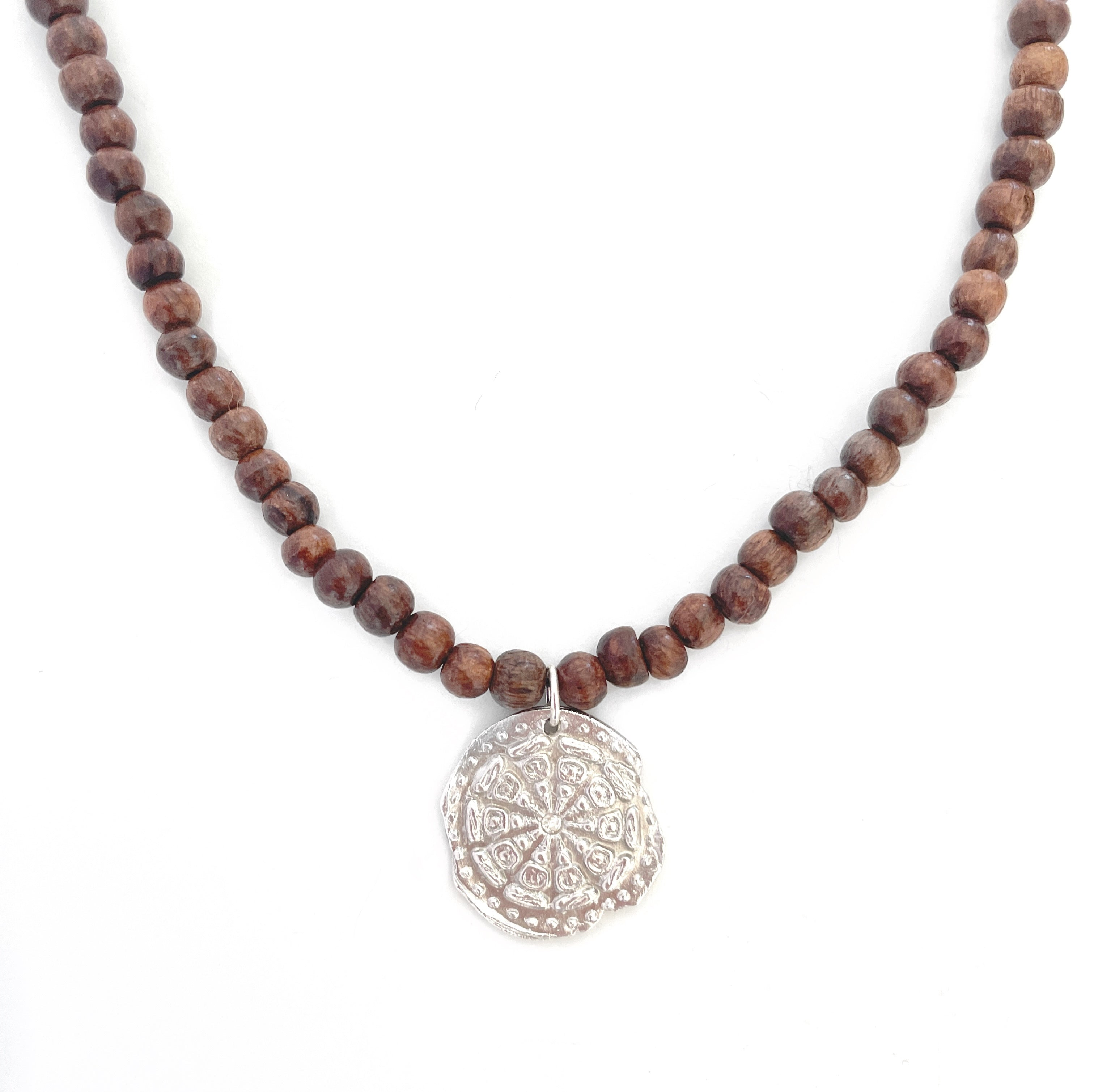 One of a Kind Silver Wheel of Life Charm on Wood Bead Necklace 20078