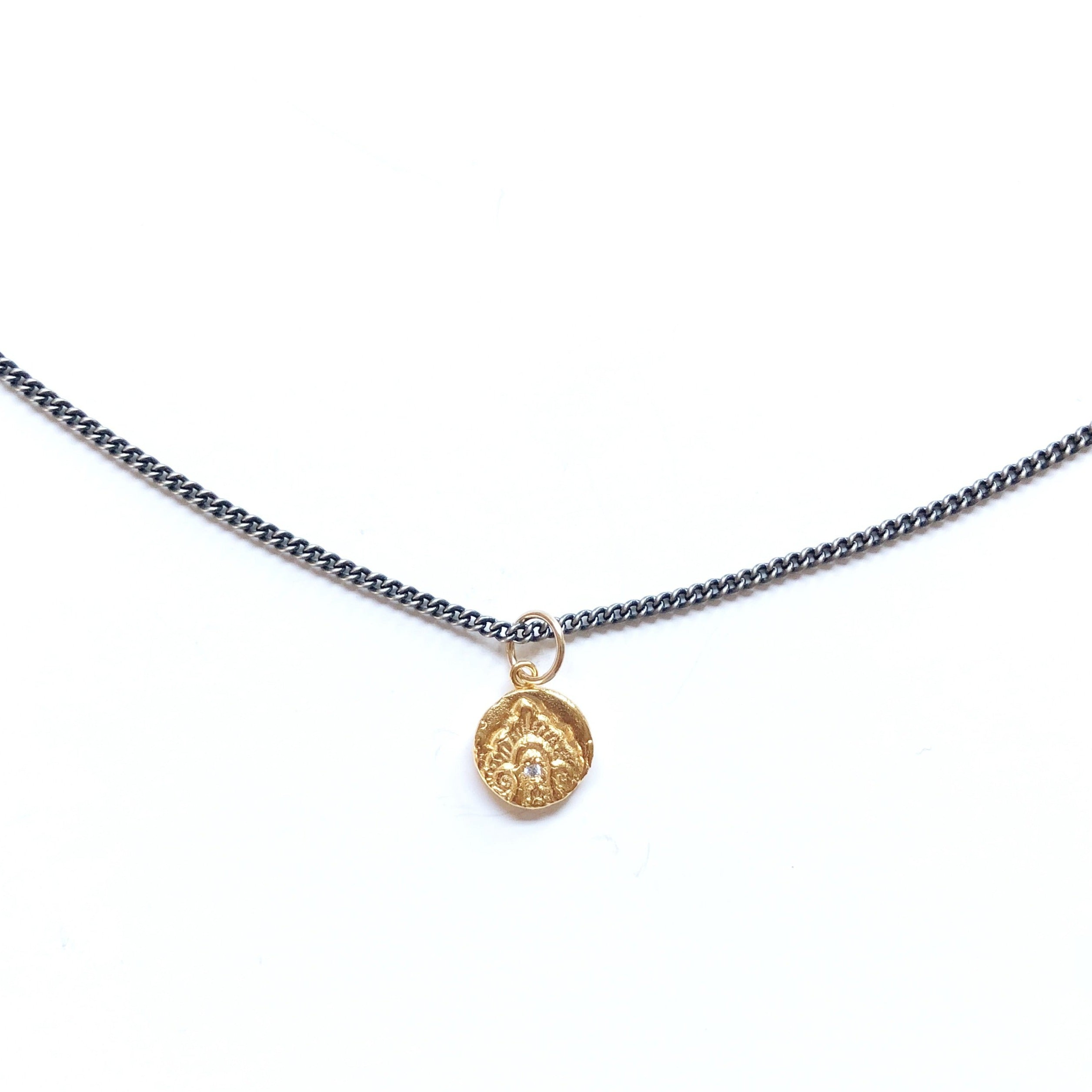 One-of-a-kind-river-charm-on-thicker-rhodium-necklace-gold-MAS-Designs-Jewelry