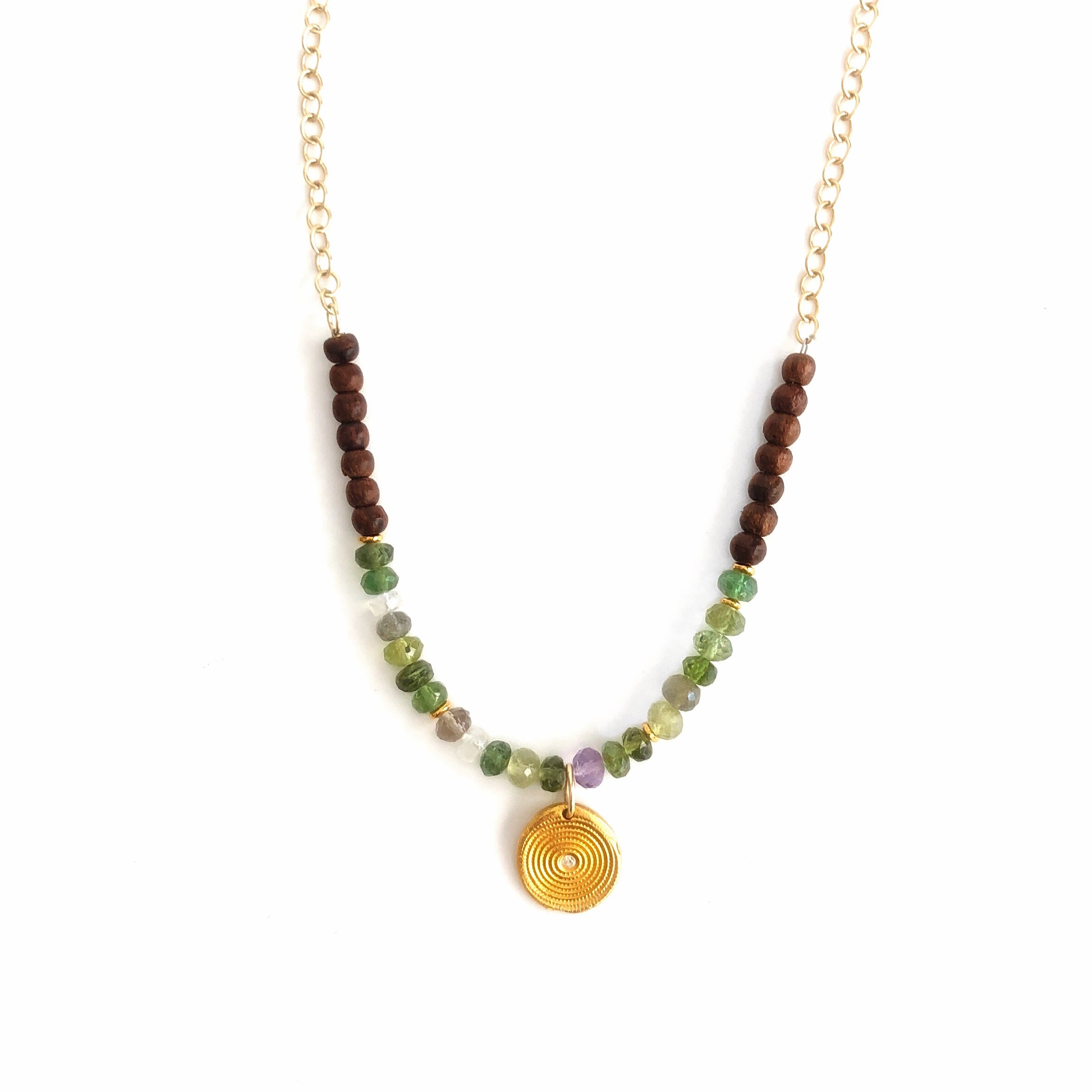 One Of A Kind Tourmaline and Wood Beaded Gold Zen Necklace 20039 - MAS Designs