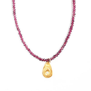 One of a Kind Garnet Bead Necklace with Gold Luck Charm 20047 - MAS Designs