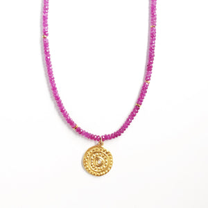 One of a Kind Ruby Bead Necklace with Gold Strength Charm 20048 - MAS Designs