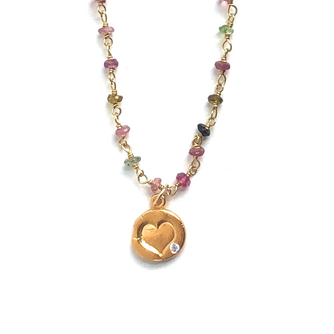 Heart Charm on Rainbow Tourmaline Chain Necklace Gold