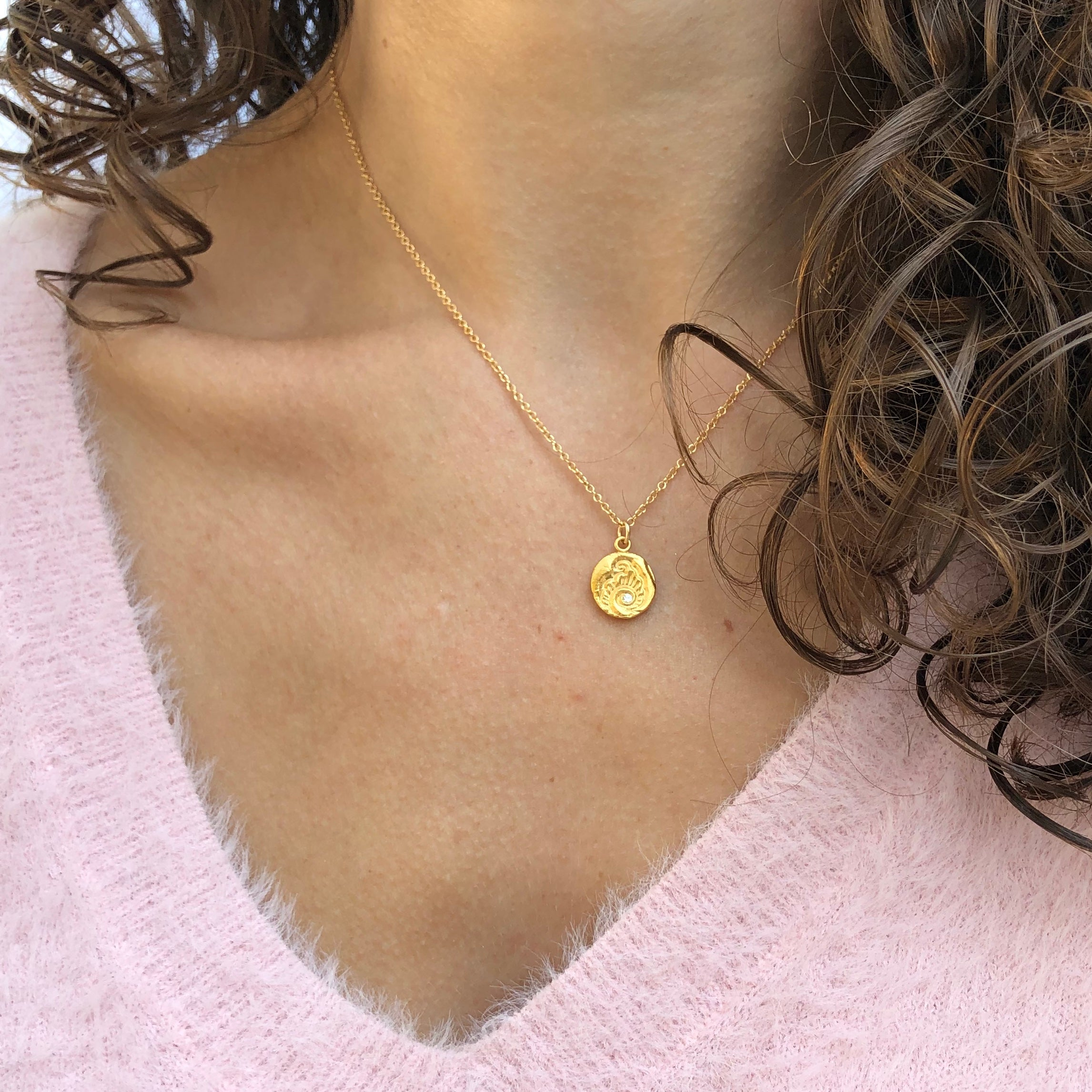 River Charm Necklace Gold