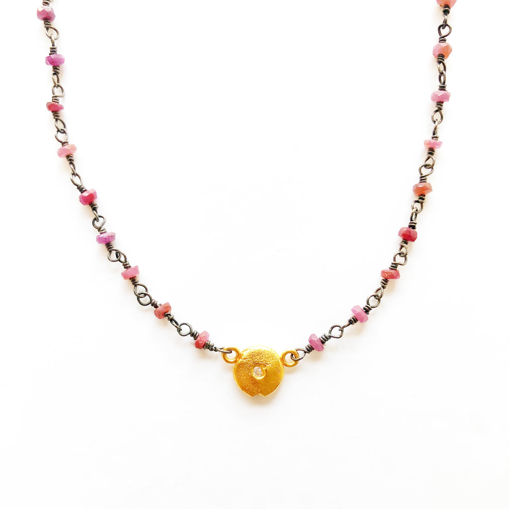 Little Lights Charm on Ruby Beaded Chain Necklace Gold